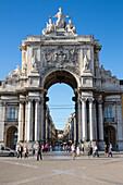Arco da Victoria victory arch at Praca do Comercio square in Baixa district, Lisbon, Lisboa, Portugal