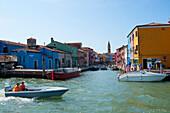 Boats on waterways, Burano, Venice, Venezia, Italy, Europe