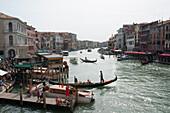 View from the rialto bridge over the Grand Canal, Venice, Venezia, Italy, Europe
