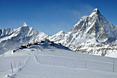 On the Theodul glacier at Plateau Rosa, Ski resort Breuil-Cervinia with Matterhorn, Aosta Valley, Italy
