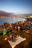Es Penyo beach at Palma bay in the evening, celebration of Saint Johns festival on the evening of the 24th of June, Palma de Mallorca, Mallorca, Balearic Islands, Spain