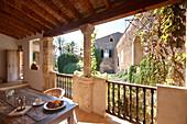 Roofed loggia of apartment Garnacha, Finca Raims, rebuilt vineyard and country hotel, Algaida, Mallorca, Balearic Islands, Spain