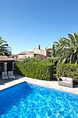 Pool in the garden of Finca Raims, rebuilt vineyard and country hotel, Algaida, Mallorca, Balearic Islands, Spain