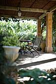 Terrace of Finca Raims, rebuilt vineyard and country hotel, Algaida, Mallorca, Balearic Islands, Spain