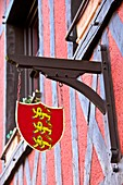 Emblem of Normandy, on a typical norman house, Honfleur, Calvados, France