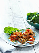 Plate of prawns on toast. Chilli Garlic Prawns _ Sourdough Toast, Wild Rocket