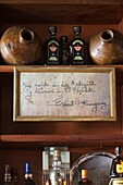 Cuba, Havana, Havana Vieja, La Bodeguita del Medio, birthplace of the Mojito cocktail, interior, note from Ernest Hemingway