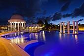 Cuba, Matanzas Province, Varadero, Hotel Iberostar Varadero, poolside, evening