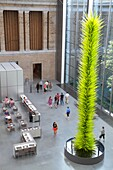Massachusetts, Boston, Huntington Avenue, Museum of Fine Arts, New American Cafe, restaurant, courtyard, Chihuly Glass Lime Green Icicle Tower