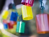 Festive and colorful lights hang in Santa Barbara, California, United States