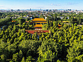 Jingshan Park  Beijing  China  Jingshan Park, the highest point in Beijing City was built in 1179 during the Jin Dynasty and has a history of more than 800 years  This Park is located directly to the north of the Forbidden City´s Shenwu Gate  Visitors wil