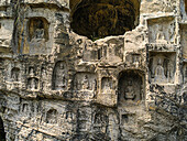The grottoes were started around the year 493 when Emperor Xiaowen of the Northern Wei Dynasty 386-534 moved the capital to Luoyang and were continuously built during the 400 years until the Northern Song Dynasty 960-1127  The scenery measures 1,000 metre