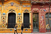 Paseo del Filete, Houses facade painted in Filete style in Abasto neighbourhood, Buenos Aires, Argentina