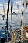 Greenland, Upernavik archipelago, Baffin Bay, Aboard three-mast schooner Rembrandt Van Rijn, Sugar Loaf island