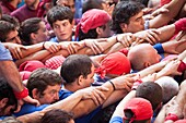Tarragona, Spain, october 6 and 7 2012  Contest XXIV Castellers human towers  The castellers are UNESCO World Heritage