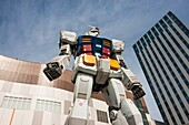 An 18 meter full scale model of the Gundam robot from the Japanese anime series at Diver City Odaiba Tokyo Japan