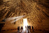 Interior of the Treasury of Atreus is an impressive ´tholos´ beehive shaped tomb on the Panagitsa Hill at Mycenae  Mycenae UNESCO World Heritage Archaeological Site, Peloponnese, Greece