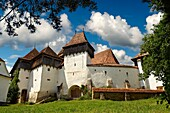 Front view of the Szekly medieval fortified church of Viscri, Bunesti, Brasov, Transylvania. Started in the 1100´s. UNESCO World Heritage Site