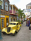 Vintage vehicle and boutiques Old Street shopping St Maarten