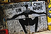 The Palo religious signs and symbols painted on the wall in Callejón de Hamel in Havana, Cuba, August 13, 2009  The Palo religion Las Reglas de Congo belongs to the group of syncretic religions which developed in Cuba amongst the black slaves, originally.