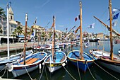 Colourful Wooden Boats in Port of Sanary-sur-Mer Var Provence France