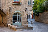 Early morning restaurant and street in Carcassonne, Languedoc-Roussillon, France