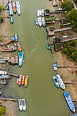 Aerial image of boats, nautical infrastructure, piers and buildings in Malaysia