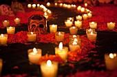 Desvestidas Y Alborotadoras Ofrenda - Altar offering commemoration of women with special homage to Sor Juana and María Félix - Detail Of calavera skull and candles on Altar