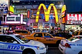 mc donald, police and taxi, Night view of Time Square, Manhattan, New York, USA