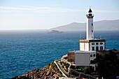 Marina Botafoch lighthouse in the port  Ibiza, Balearic Islands, Spain