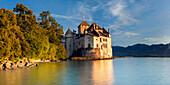 The impressive fortress Chillon at the shore of Lake Geneva, Montreux, Canton de Vaud, Switzerland