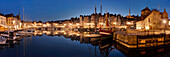 View over the picturesque port of Honfleur situated on the left bank of the Seine, Normandy, France