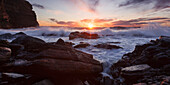 Impressive sunrise on the wild coast of Duncansby Head on the Northeastern coast of Scotland, United Kingdom