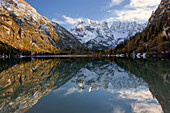 Evening atmosphere at Lago di Landro with view to M. Cristallo in autumn, South Tyrol, Italy