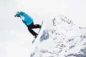 Freestyle skier in action, whitestyle open, freestyle competition, Muerren, canton of Bern, Switzerland