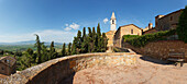 View into Orcia valley from cathedral Santa Maria Assunta, Pienza, Val d'Orcia, Orcia valley, UNESCO World Heritage Site, province of Siena, Tuscany, Italy, Europe