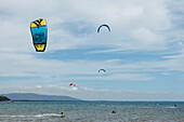 People kitesurfing, Golfo di Talamone, Mediterranean Sea, province of Grosseto, Tuscany, Italy, Europe