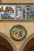 Medieval hospital, detail of the ceramic glaze frieze, tondoe by Giovanni della Robbia, relief, Ospedale del Ceppo, hospital, 13th. century, Pistoia, Tuscany, Italy, Europe