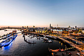 View in the twilight to Hamburg and the Elbe at Am Baumwall, seen from the Kehr Wieder Spitze, Hamburg, Germany