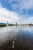 View to the Binnenalster of Hamburg with the town hall and the hotel, Hamburg, Northern Germany, Germany