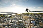 Man cyclocross touring in autumn, Lake Starnberg, Ambach, Munsing, Bavaria, Germany