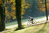 Man cyclocross touring in autumn, Degerndorf, Munsing, Bavaria, Germany
