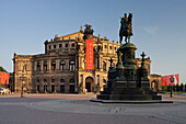 Equestrian monument of King Johann and Semperoper opera house on Theaterplatz square, Dresden, Saxony, Germany