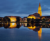 Town hall and opera house at night, Reflection in the water, Kleiner Kiel, Kiel, Schleswig-Holstein, Germany