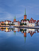 Church of St. Mary and church of St. Peter, Marienkirche, Petrikirche, Trave, Luebeck, Schleswig-Holstein, Germany