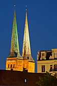 Luebeck cathedral at night, Luebeck, Schleswig-Holstein, Germany