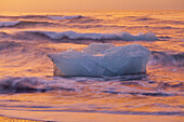 Icebergs in the waves in the glacial lake, Jokulsarlon in the morning light, East Iceland, Iceland