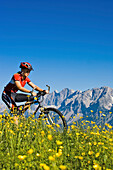 Female mountain biker on Planai, Dachstein mountains in background, Schladminger Tauern, Styria, Austria