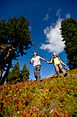 Hikers in autumn, Planai, Schladming, Styria, Austria