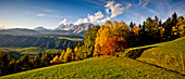 Autumn scenery in Ennstal, Dachstein in background, Styria, Austria
